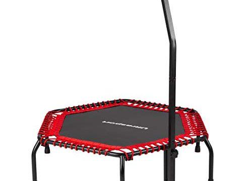 Ultrasport Fitness Trampolin, stabiler Haltegriff und Gummiseilfederung für höchste Sicherheit im Sprung; Ideales Indoor Sport-Gerät für zuhause, Jumping Fitness in: Rot hart
