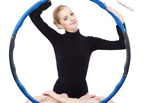Hula Hoop zur Gewichtsreduktion,Reifen mit Schaumstoff 1,3 kg Gewichten Einstellbar Breit 48-88 cm beschwerter Hula-Hoop-Reifen für Fitness 4 Knoten Grün + Grau mit Mini Bandmaß Blau