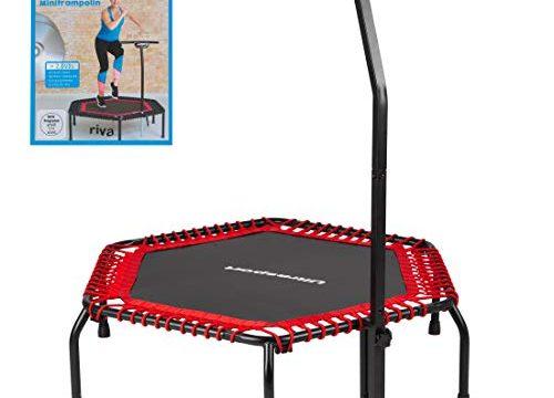 Ultrasport Fitness Trampolin, stabiler Haltegriff und Gummiseilfederung für höchste Sicherheit im Sprung; Ideales Indoor Sport-Gerät für zuhause, Jumping Fitness in: Rot hart mit DVD