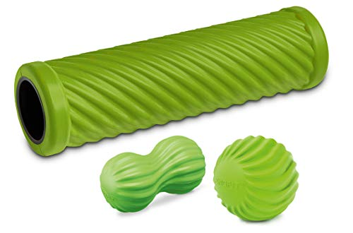 PINOFIT Faszienrolle Set Wave Lime ☆ Faszienrolle, Massageball & Duoball ☆ inkl. Übungsposter Lime