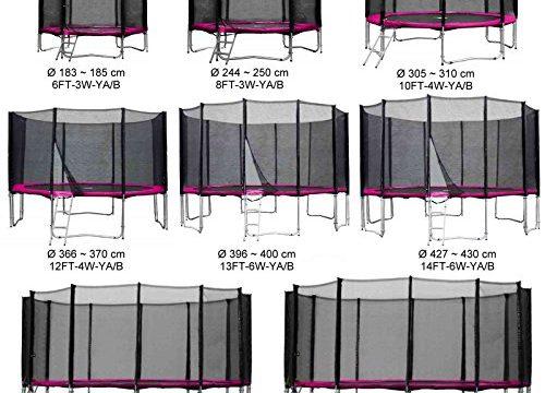 Gartentrampolin Kindertrampolin Trampolin 305 bis 310 cm pink komplettes Set mit Sicherheitsnetz und Einstiegsleiter …