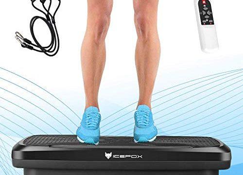 icefox Profi 3D Dual-Motor Fitness Vibrationsplatte mit Bluetooth 4.0 Lautsprecher, LCD Display & Fernbedienung, 10 Trainings-Programme-180 Level