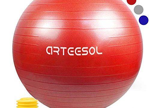 arteesol Gymnastikball 45cm/55cm/65cm/75cm Yoga Ball Auti Burst Core Gymnastikball mit Schnellpumpe für Pilates Training Fitness Geburt Schwangerschaft Rot, 75cm