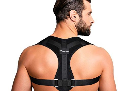 ZEALactive Haltungstrainer zur Haltungskorrektur – elastisch & atmungsaktiv – Geradehalter für eine gesunde & aufrechte Haltung bei haltungsbedingten Rücken & Nackenschmerzen Schwarz, S-L