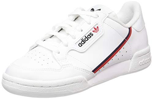 adidas Unisex-Kinder Continental 80 J Sneaker, Weiß Footwear White/Scarlet/Collegiate Navy 0, 38 EU