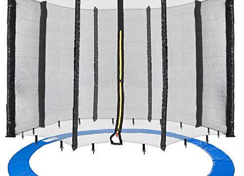Arebos Trampolin Randabdeckung und Netz / 244, 305, 366, 396, 430, 460 und 490 cm/für 6 und 8 Netzstangen 490 cm, Netz für 8 Stangen