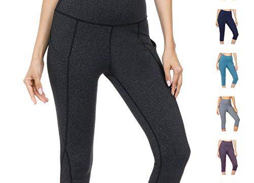 WateLves Damen Hohe Taille Sport Hose 3/4 Yoga Leggings Capri mit Tasche Jogginghose Stretch Workout FitnessDunkelgrau, M