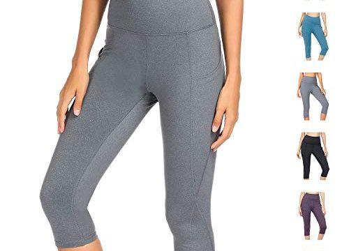 WateLves Damen Hohe Taille Sport Hose 3/4 Yoga Leggings Capri mit Tasche Jogginghose Stretch Workout FitnessHellgrau, L