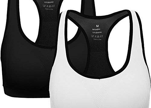 ANGOOL Damen Komfort Klassische Racerback Sport BH Top Fuer Yoga Fitness-Training, S Fit 65B 65C 65D 70BC 70D 75BC, Schwarz+weiß
