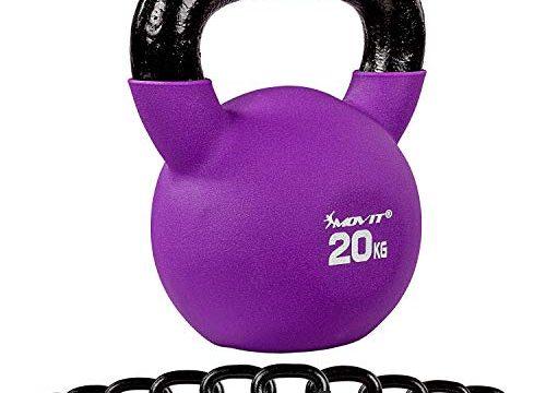 MOVIT® Profi Kettlebell Kugelhantel aus Gusseisen mit Neoprenbeschichtung, 20kg violett