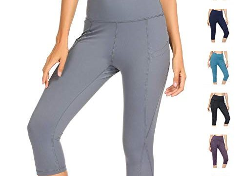 WateLves Damen Hohe Taille Sport Hose 3/4 Yoga Leggings Capri mit Tasche Jogginghose Stretch Workout FitnessGrau, M