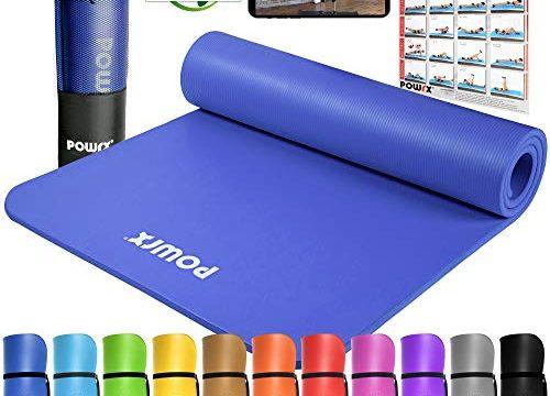 POWRX Gymnastikmatte Yogamatte Premium inkl. Trageband + Tasche + Übungsposter GRATIS I Hautfreundliche Fitnessmatte Phthalatfrei 190 x 60, 80 oder 100 x 1.5 cm I Dunkelblau, 190 x 80 x 1.5 cm