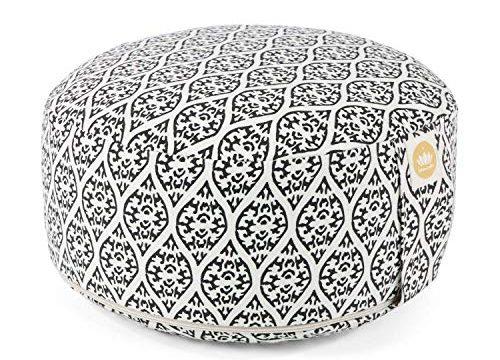 GOTS Zertifiziert Black Print Edition – Yoga Sitzkissen mit Dinkelfüllung – Sitzhöhe 15cm – Lotuscrafts Yogakissen Meditationskissen Rund Lotus – Waschbarer Bezug aus Baumwolle