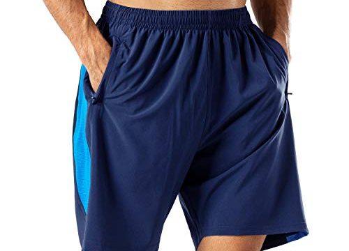 Herren Sport Shorts Schnell Trocknend Kurze Hose mit ReißverschlusstaschMarine Blau,XXL