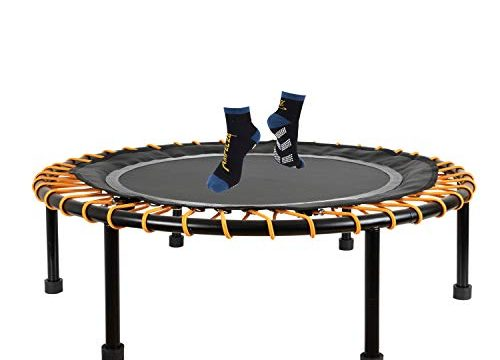 Ampel 24 Minitrampolin Ø 110 cm, Indoor Fitness Trampolin mit Bungee-Seil-System, 6 verstellbare Elastobänder für den Härtegrad, belastbar bis 150 kg