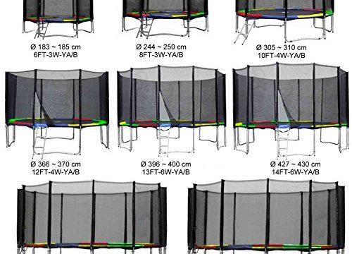 Gartentrampolin Kindertrampolin Trampolin 396 bis 400 cm multicolor komplettes Set mit Sicherheitsnetz und Einstiegsleiter …