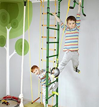 NiroSport FitTop M1 Indoor Klettergerüst für Kinder Sprossenwand für Kinderzimmer Turnwand Kletterwand, TÜV geprüft, kinderleichte Montage, max. Belastung bis ca. 130 kg Grün