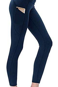 Yavero Sport Leggings Damen Sporthose Blickdicht Yogahose Hoher Bund Yogahosen für Damen Leggings mit Taschen Stretch Fitnesshose Jogginghose Blau S