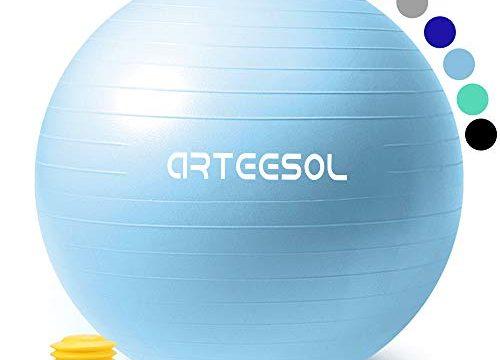 arteesol Gymnastikball, Balance Ball 45cm/55cm/65cm/75cm Yoga Ball mit Pumpe Anti-Burst Fitness Balance Ball für Core Strength Mondblau, 75cm