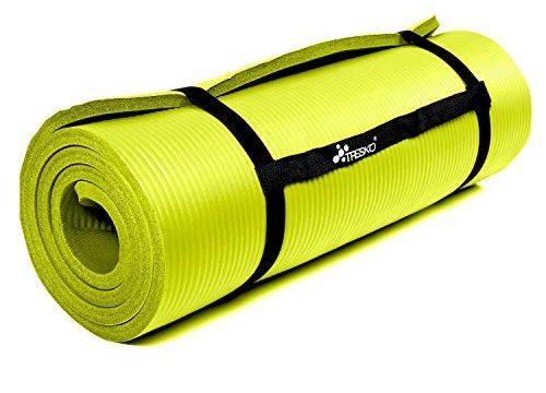 TRESKO Fitnessmatte Yogamatte Pilatesmatte Gymnastikmatte | 185 x 60cm oder 190 x 100cm | 1,0 oder 1,5cm stark | Phthalates-getestet | NBR Schaumstoff Gelb, 185 x 60 x 1.5 cm