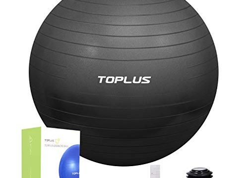 TOPLUS Gymnastikball Sitzball Extra Dicker Yoga-Ball-Stuhl, Anti-Berst-Stabilitätsball für hohe Beanspruchung, Balance Ball mit Schnellpumpe-Schwarz&55cm