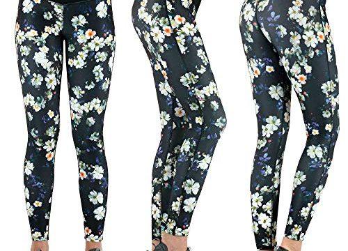 Formbelt® Damen Laufhose mit Tasche lang – Leggins Stretch-Hose Hüfttasche für Smartphone iPhone Handy Schlüssel Flower XS