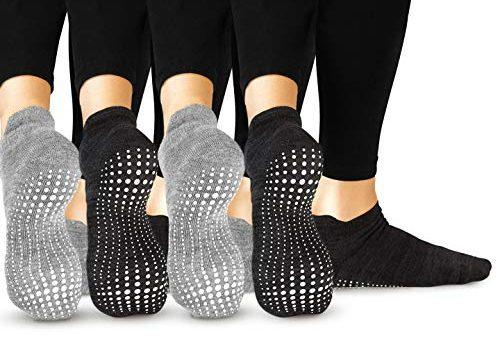 LA Active Grip Socken – 4 Paar – Yoga Pilates Barre Ballet Abs Noppen Rutschfeste Grau x 2 und Schwarz x 2, 37-40 EU