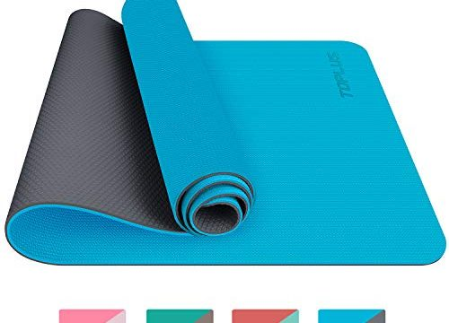 TOPLUS Gymnastikmatte, Yogamatte Yogamatte Gepolstert & rutschfest für Fitness Pilates & Gymnastik mit Tragegurt – Maße 183cm Länge 61cm Breite- Hellblau & Grau