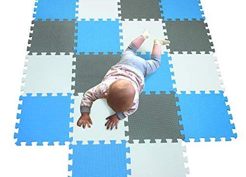 MQIAOHAM babymatten bodenmatte Kinder Matte Play puzzelmatten puzzlematten schadstofffrei spielmatte Teppich Weiß-Blau-Grau 101107112