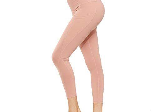 HMIYA Damen Leggings, Lang Frauen Sporthose Yogahose Laufhose FitnesshoseOrange Rosa,M