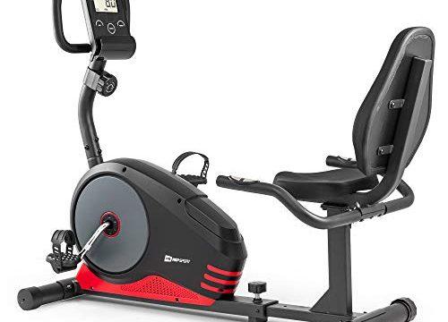 Hop-Sport Liege-Heimtrainer Root Sitzheimtrainer Heimtrainer Liegeergometer 9,5 kg Schwungmasse 8 Widerstandsstufen Benutzergewicht bis 120 kg Rot