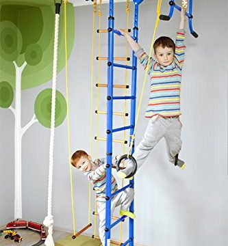 NiroSport FitTop M1 Indoor Klettergerüst für Kinder Sprossenwand für Kinderzimmer Turnwand Kletterwand, TÜV geprüft, kinderleichte Montage, max. Belastung bis ca. 130 kg Blau