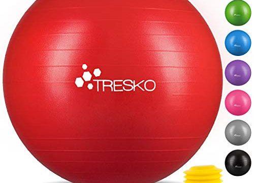 TRESKO® Anti-Burst Gymnastikball 55cm 65cm 75cm 85cm | Sitzball | Yogaball | 300 kg | mit Luftpumpe Rot, 85cm geeignet für über 185cm