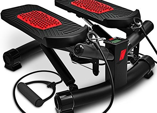 STX300 Modell 2019 Drehstepper & Sidestepper für Anfänger & Fortgeschrittene, Up-Down-Stepper mit Multifunktions-Display, Hometrainer Widerstand – Sportstech 2in1 Twister Stepper mit Power Ropes