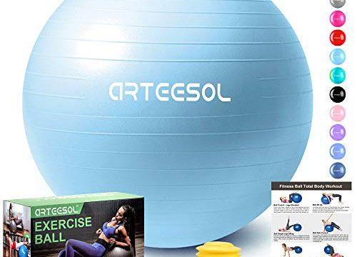 arteesol Gymnastikball, Balance Ball 45cm/55cm/65cm/75cm Yoga Ball mit Pumpe Anti-Burst Fitness Balance Ball für Core Strength Mondblau, 85