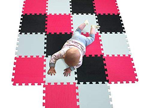 MQIAOHAM Baby Boden für mädchen mat mit Puzzel puzzelmatte puzzlematte puzzleteppich Schaumstoff spielematten spielunterlage Weiß-Schwarz-Rosa 101104109