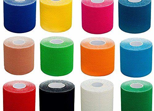 #DoYourFitness 12x Premium Kinesiologie Tape, elastische Qualitäts-Bandage / 100% gewebte Baumwolle/wasserresistent/Rollenlänge 5 m, Breite 5 cm, Farbe: Navyblau