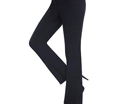 Lang Stretch Stoffhose Business Hose Yoga Pilates Fitness Sporthose Blau XL – Bamans Elegante Anzughose Straight Freizeithose Damen