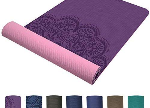 TOPLUS Preumium Yogamatte aus hochwertigen TPE, rutschfest Yogamatte Gynastikmatte Übungsmatte Sportmatte für Yoga, Pilates,Fitness usw.-Pink