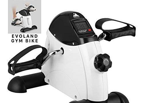 EVOLAND Mini Bike, Arm- und Beintrainer Heimtrainer,Hometrainer, Fitnesstrainer, Sportgerät,Minifahrrad Bewegungstrainer Fitnessgerät für Zuhause Büro Weiß