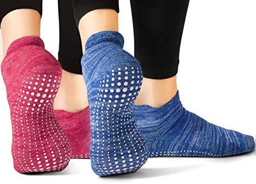 2 Paar – Yoga Pilates Barre Ballet Abs Noppen Rutschfeste Blau und Rot, 40.5-44 EU – LA Active Grip Socken