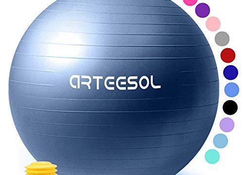 arteesol Gymnastikball 45cm/55cm/65cm/75cm Schwangerschaft Yoga Ball Auti Burst Core Blance Ball mit Schnellpumpe für Pilates Training Fitness Geburt Darkblau-Srub, 85cm