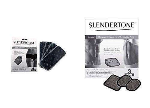 Slendertone Ersatzelektroden Gel-Pads Bottom Po-Trainer 4er Set & Ersatzelektroden Gel-Pads 3er Set für alle Bauchmuskeltrainer