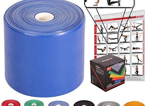 Für Männer & Frauen Blau – POWRX Fitnessbänder Rollen Widerstandsvarianten | 45 m Latex-Band für Yoga, Pilates, Reha-Sport Physio-Gymnastik