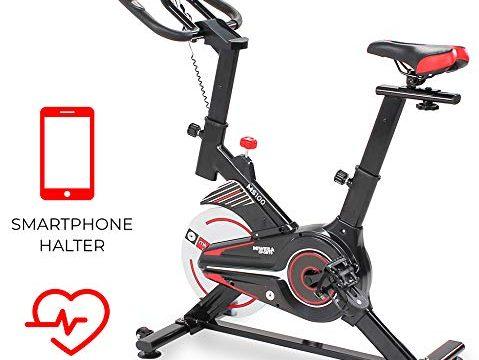 10 Kg Schwungmasse – Stufenfreie Widerstandsverstellung – Pulsmessung Schwarz – Miweba Sports Indoor Cycling MS100 Fitnessbike