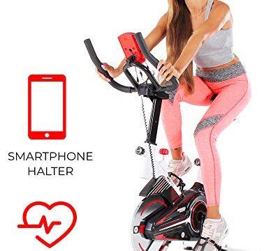 Miweba Sports Indoor Cycling MS100 Fitnessbike – Pulsmessung Weiß – 10 Kg Schwungmasse – Stufenfreie Widerstandsverstellung