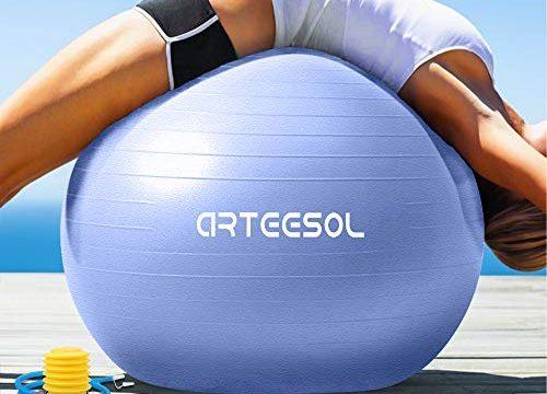 arteesol Gymnastikball Pilates Ball 45cm / 55cm / 65cm / 75 cm inkl. Pumpe Anti-Burst Sitzball für Yoga Exercise Fitness Physiotherapie 5 Farben Himmelblau, 85cm