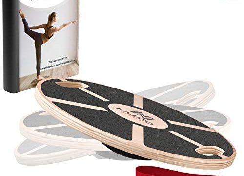 Wackelbrett mit Handgriffen für mehr Übungsmöglichkeiten – Mit rutschfestem gummiertem Standfuß – NAJATO Sports Balance Board aus Holz