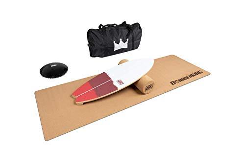 Indoorboard Wave Set Balance Board Skateboard Surfboard Balanceboard Red Bundle, 150 mm x 45 cm Ø x L