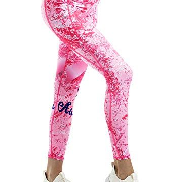 COOLOMG Damen Leggings Yoga Hose Printed Sporthose Fitness Laufhose lang mit Taschen Pink1 XL